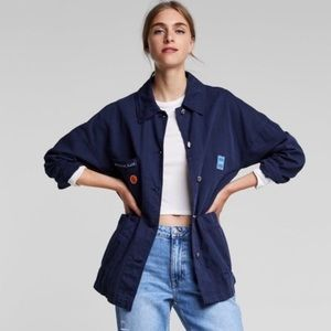 Zara Basic Blue Space Is The Place Utility Jacket